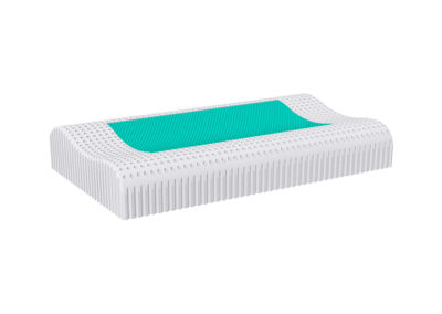 Perforated cervical spine pillow with gel